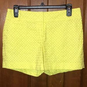LOFT Yellow Eyelet Riviera Shorts Size 0